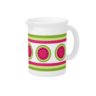 Pink Watermelon Slice and Stripes Pitcher