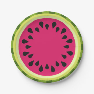 Pink Watermelon Slice Paper Plates