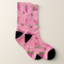 Pink Watermelons and Ladybugs Pattern Socks