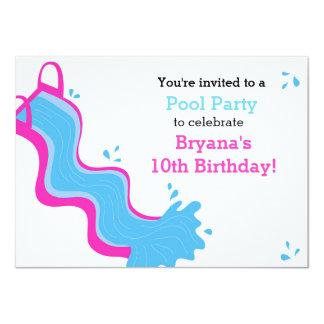 Pink Waterslide Pool Swim Party Girls Invitation