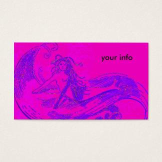 pink wave mermaid business card