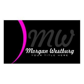 Pink Wave Professional Monogram Business Cards