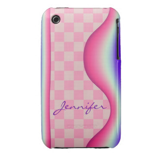 Pink wave, tiles & Name iPhone 3G/3GS case iPhone 3 Case-Mate Cases