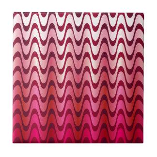 Pink waves ceramic tile
