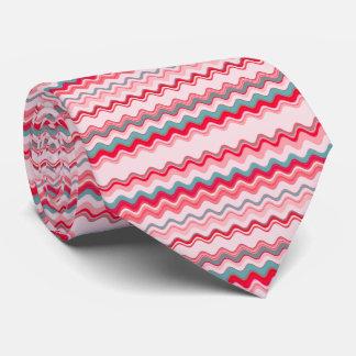 Pink Wavy Zigzag Pattern Neck Tie