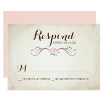 Pink We Got Married Deer Antler RSVP Card