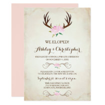 Pink We Got Married Invitation Rustic Deer Antlers