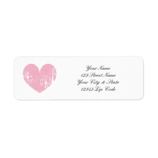 Pink weathered heart return address labels