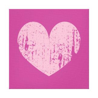 Pink weathered heart symbol art canvas print