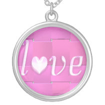 pink weave love silver plated necklace