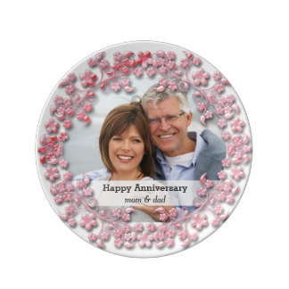 Pink wedding anniversary with a photo porcelain plate
