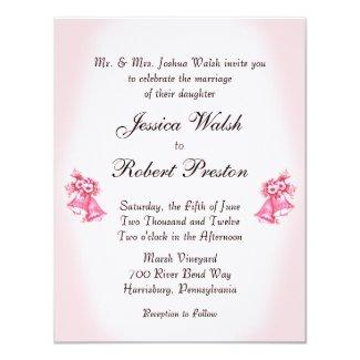 Pink Wedding Bells 4.25x5.5 Paper Invitation Card