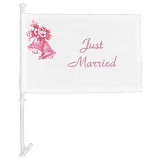 Pink Wedding Bells Car Flag