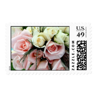 Pink wedding bouquet postage stamps