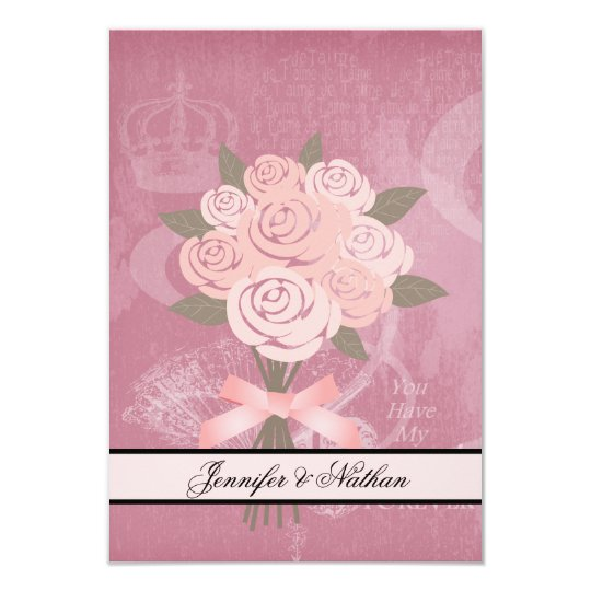 Pink Wedding Bouquet  RSVP Card