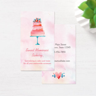 Watercolor cake business cards templates zazzle pink wedding cake bakery business card reheart Choice Image