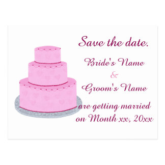 Pink Wedding Cake Hearts Save the Date Postcards