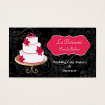 pink Wedding Cake makers business Cards