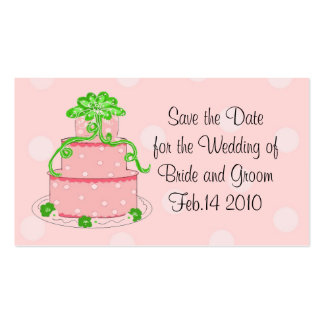 Pink Wedding Cake Save the Date Double-Sided Standard Business Cards (Pack Of 100)