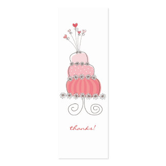 Pink Wedding Cake Thank You Party Favor Gift Tag Double-Sided Mini Business Cards (Pack Of 20)