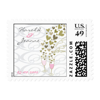 Pink Wedding Champagne Cheers Announcement / RSVP Stamp