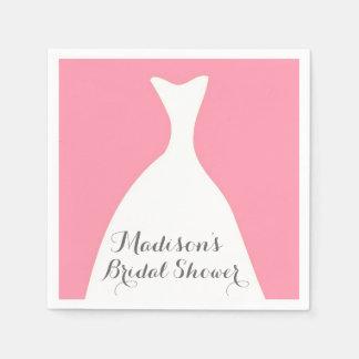 Pink Wedding Dress Bridal Shower Napkins