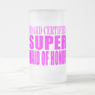 Pink Wedding Favors : Super Maid of Honor Frosted Glass Beer Mug