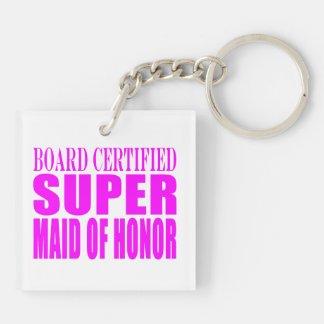 Pink Wedding Favors : Super Maid of Honor Keychain