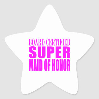 Pink Wedding Favors : Super Maid of Honor Star Sticker