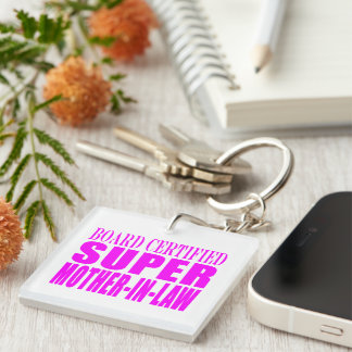 Pink Wedding Favors & Thanks : Super Mother in Law Square Acrylic Keychains