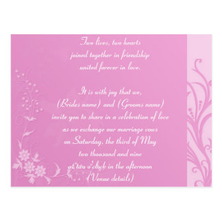 Pink wedding invitation postcard