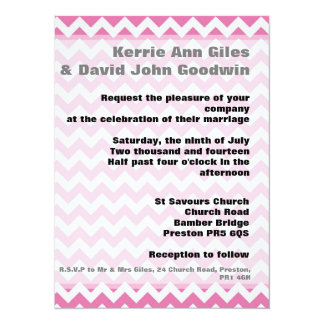 Pink Wedding Invitations - Geometric Chevron Pink 14 Cm X 19 Cm Invitation Card