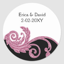 pink wedding label