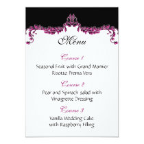 pink wedding menu card
