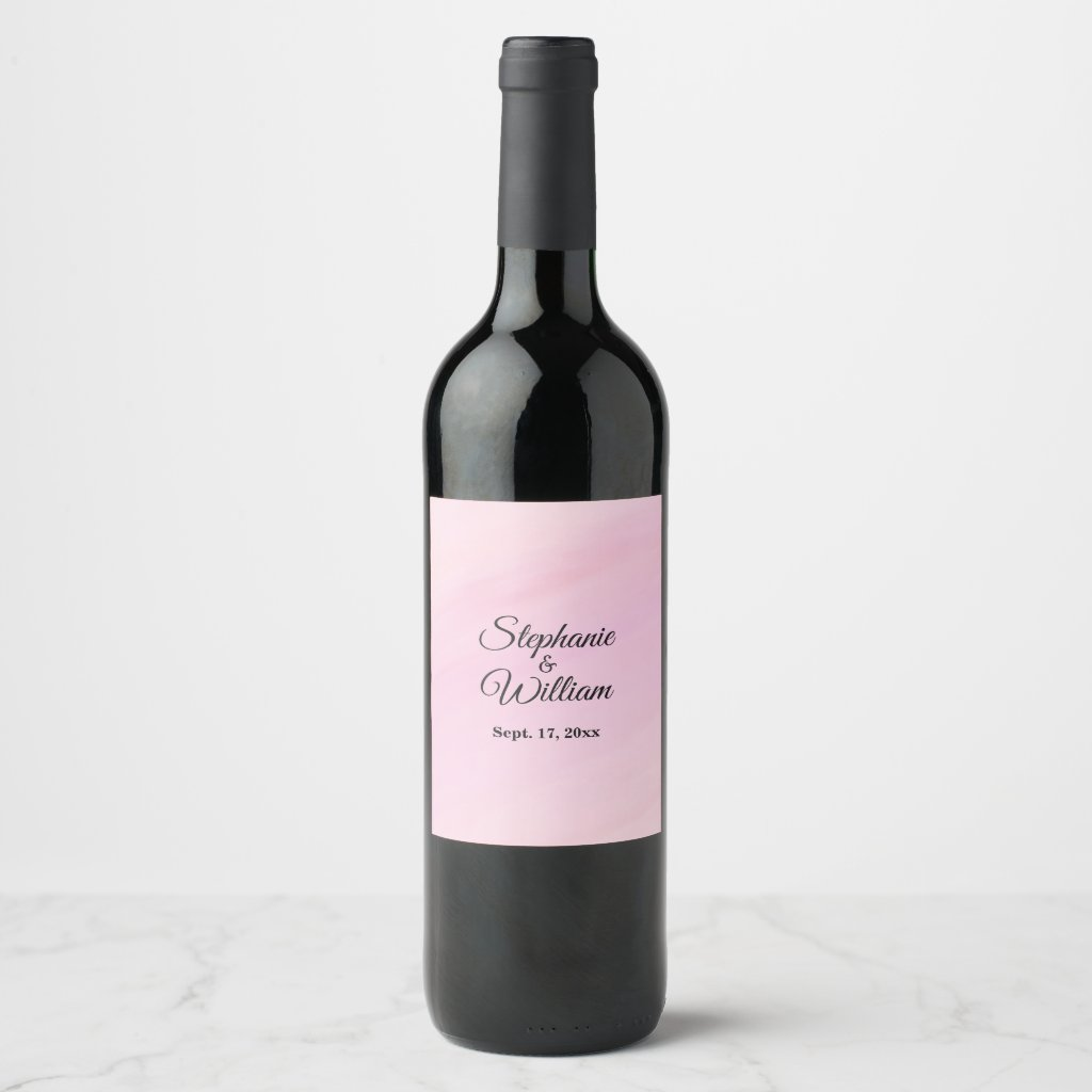 Pink Wedding Names and Date Wine Label