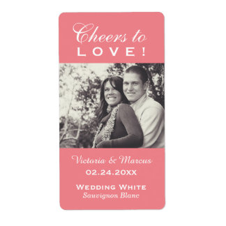 Pink Wedding Photo Wine Bottle Favor Labels