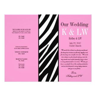 Pink Wedding Program Zebra Stripes Pattern Full Color Flyer