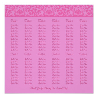 Pink Wedding Reception Seating Chart - Square Print