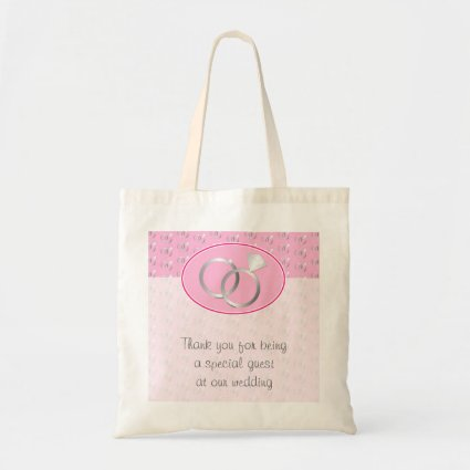 Pink Wedding Rings Pattern Favor Budget Tote Bag