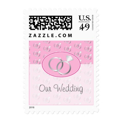 Pink Wedding Rings Pattern Postage