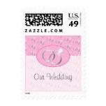 Pink Wedding Rings Pattern Postage Stamp