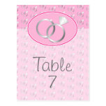 Pink Wedding Rings Table Number Post Cards