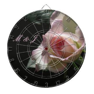 Pink Wedding Rose Dartboard With Darts