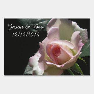 Pink Wedding Rose Yard Signs