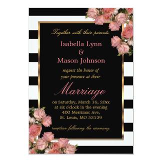 Pink Wedding Roses Black & White Stripe Invitation