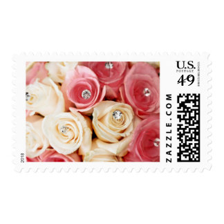 Pink Wedding Roses Bridal Bouquet Postage