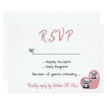 Pink Wedding RSVP Panda Teddy Bear Heart Card