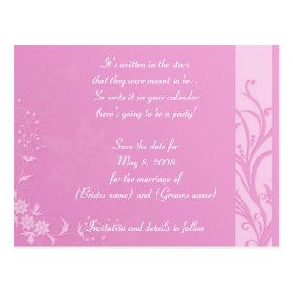 "Pink wedding ""Save the date"" Postcard"