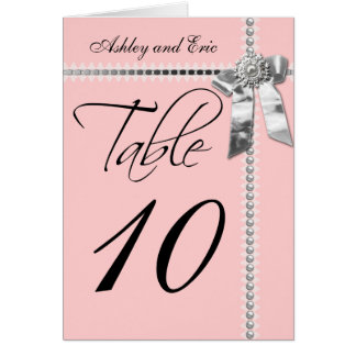 Pink Wedding Table Number Card Silver Bow Ribbon