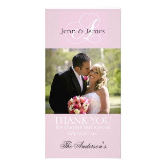 Pink Wedding Thank You Bride Groom Photo Cards